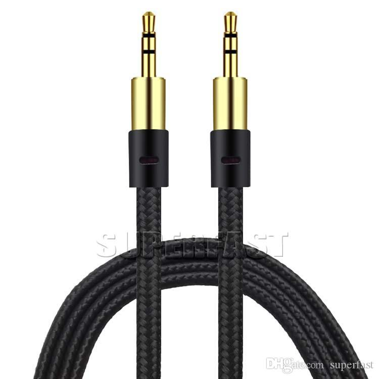 Braid 3.5mm Auxiliary Cord Male to Male AUX Cable Stereo Audio Cable Car Audio Headphone Jack PC iPad without Package