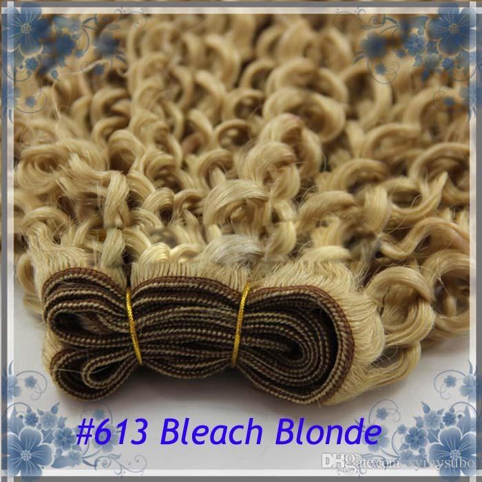 "Hot Sale Sexy Products Grade 6A+ Brazilian Hair Weaves Virgin Kinky Curly Hair 100g8""--30"" #613 Bleach Blonde Brazilian Hair"