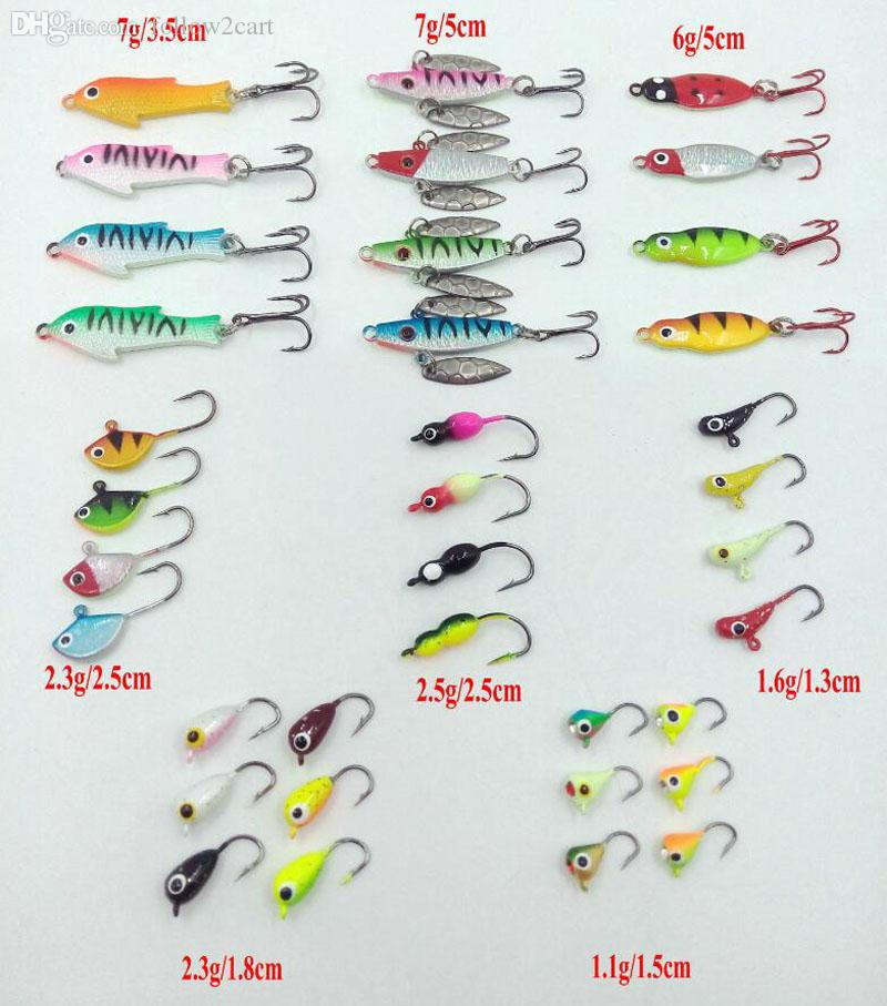/Box Mixed Winter Ice Fishing Lures Artificial Baits Mini Metal Lead Head Hook Jigging Lures