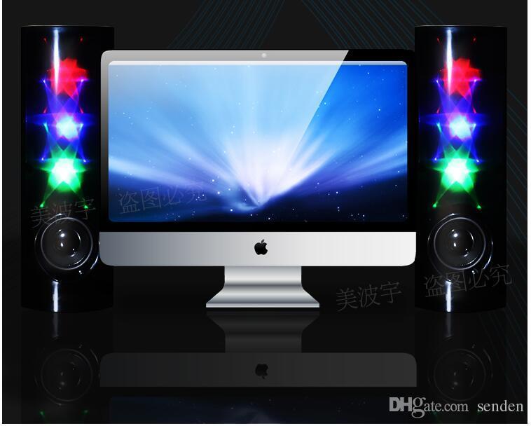 Amazing 3D Stars Music Luminoso altavoz estéreo de luz LED Luz intermitente USB 2.0 multimedia Subwoofer auxiliar para ordenador / teléfono móvil / ordenador portátil