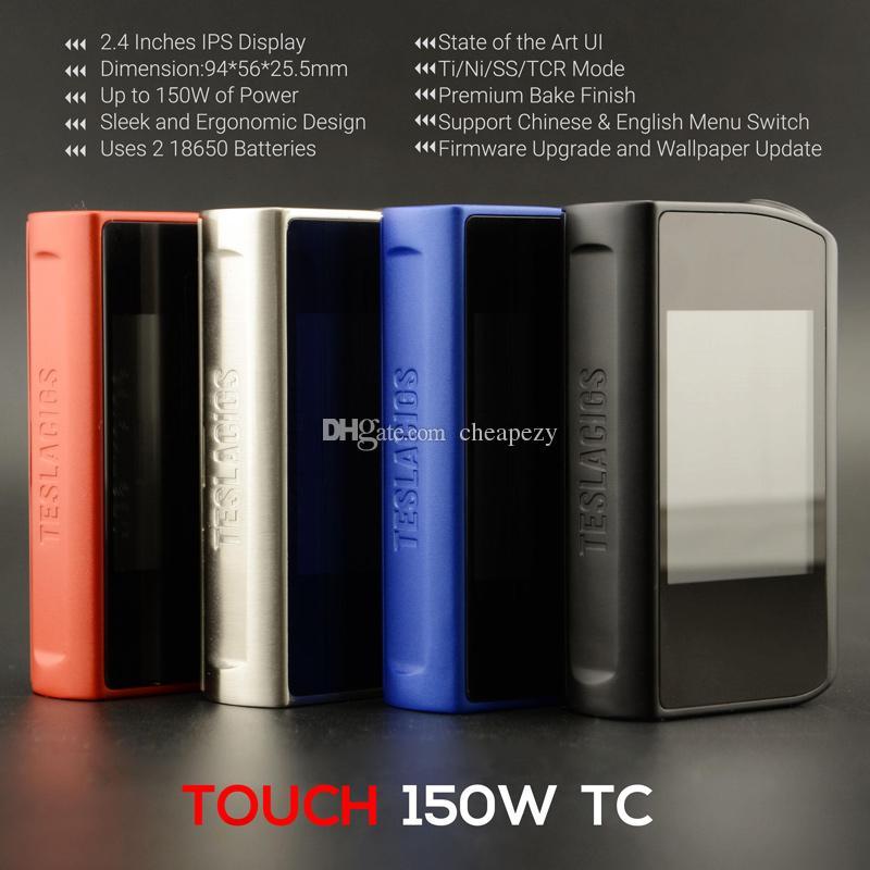 Otantik Tesla Dokunmatik 150 TC Kutusu Mod 150 W Vape Mods Dokunmatik Ekran ve 12 volt ile maksimum çıkış Yüksek kalite DHL Ücretsiz