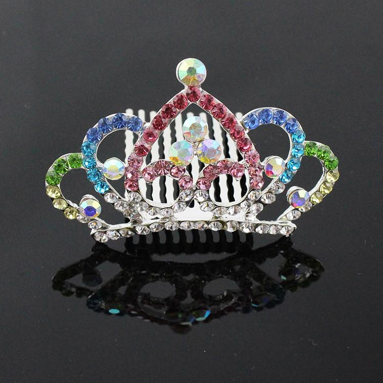Children Girls Crystal Crown Tiaras Women Bridal Wedding Crown Rhinestone Princess Hair Combs Hairpins Hair Jewelry