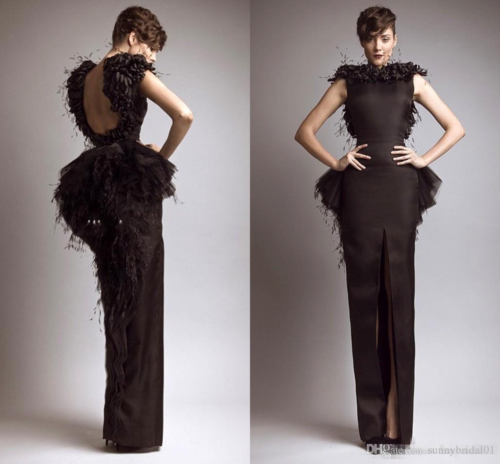 Evening Dresses Wear 2017 Keyhole Back Arabic Feather Flowers Split Peplum Floor Length Party Dress Ankle Length Formal Plus Size Prom Gown