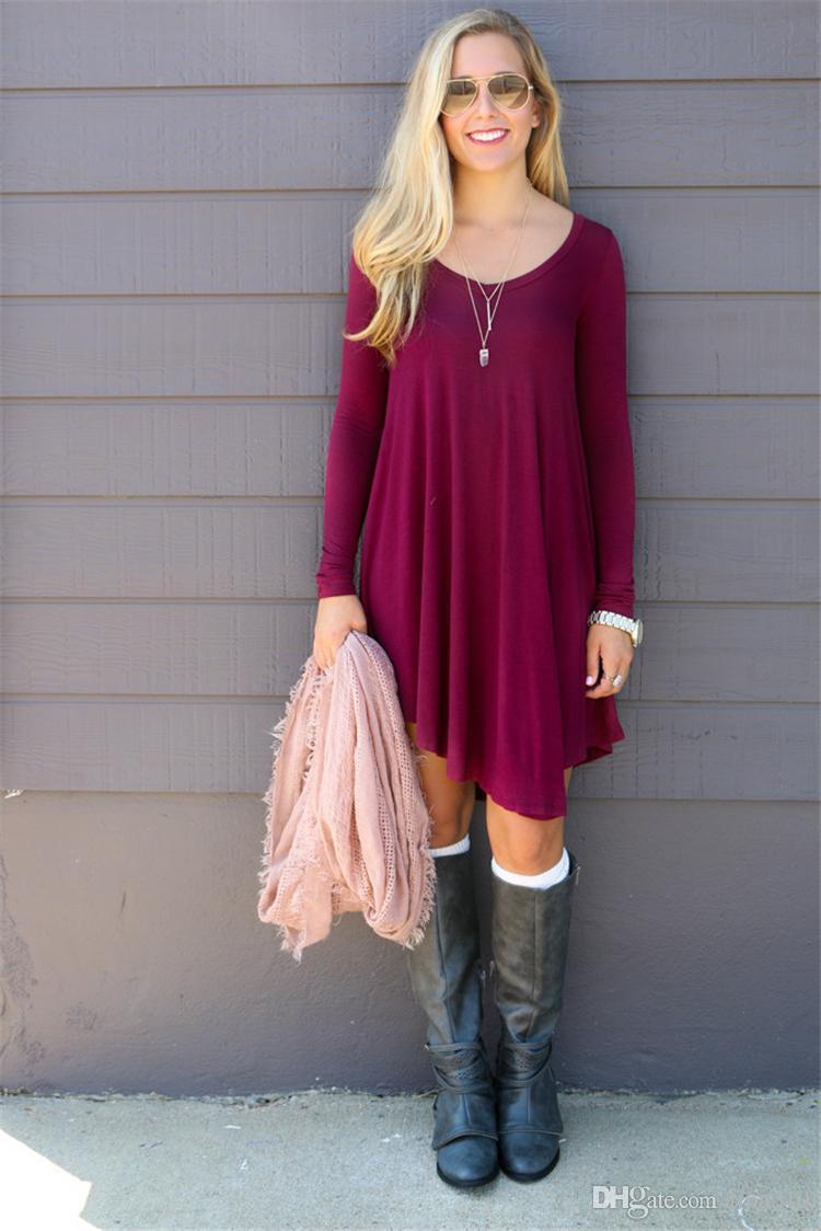 Forme los vestidos para los vestidos ocasionales del otoño de la manga de los vestidos de las mujeres los oose la camiseta más el vestido S M L XL del tamaño que envía libremente B1039