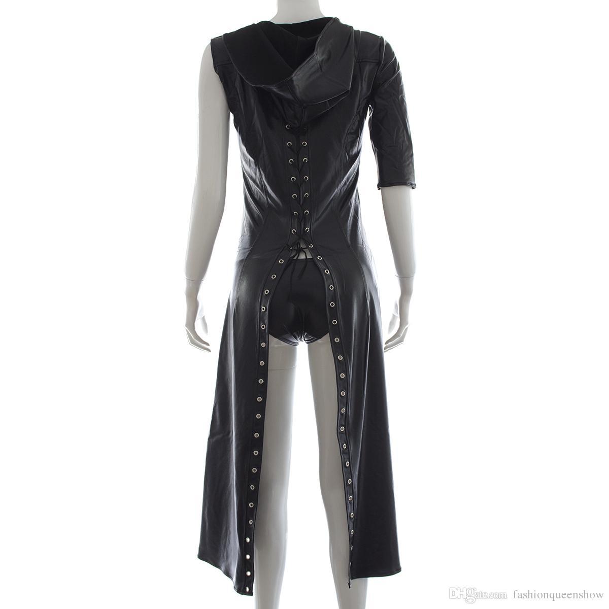 Femmes Faux Cuir À Capuche Robe À Lacets Gothique Knight Un Manches Manteau Manteau Clubwear Halloween Fantaisie Robe