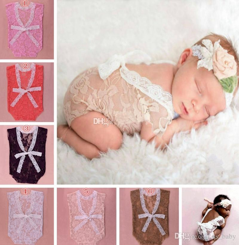 Photographie nouveau-né prop dentelle barboteuses infantile complet filles garçons petti combinaisons Jumpsuit Toddler vêtements doux dentelle Body 0-3 M