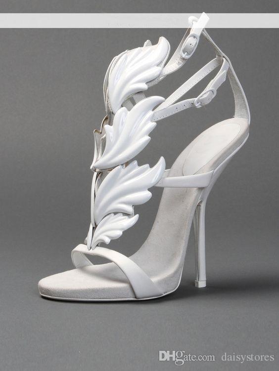 Rhinestone Angel Wings Stiletto Lady Sandalias de tacón alto Plataforma de cuña Estilo de Roma diseñado Bombas Zapatos de fiesta Vestido de la hoja Sandalias Zapatos
