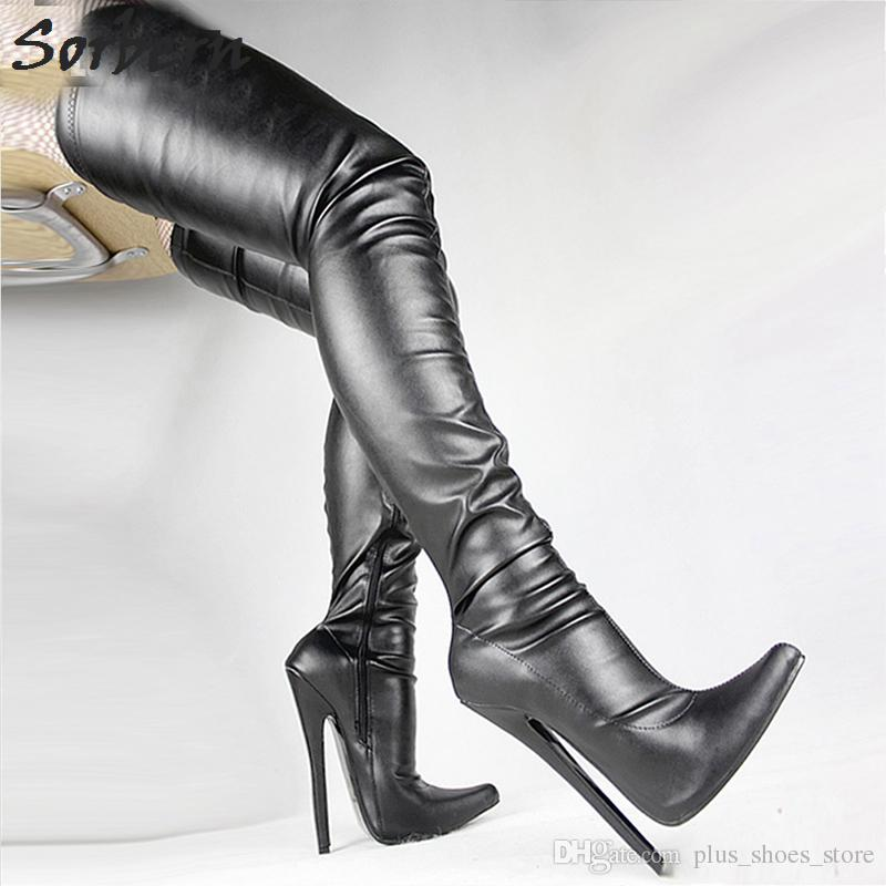 """7""""/18cm Extreme High Heel Boots Fetish Sexy Stiletto Thin Heels Over-the-knee Zip Boots Thigh High Crotch Boots"""