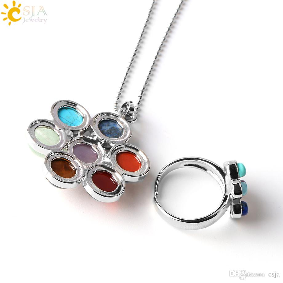 CSJA 7 Chakra Natural Stone Beads Charms Pendant Necklaces Rings Set Life Flower Yoga Healing Point Charm Reiki Jewelry Sets for Women E389