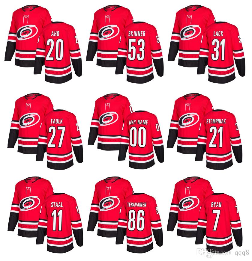 2018 Season Custom Carolina Hurricanes Hockey Jersey 20 Sebastian Aho 21  Stempniak 11 Staal 28 Semin 29 Andrew Poturalski 53 Jeff Skinner North  Carolina ... 11301f136