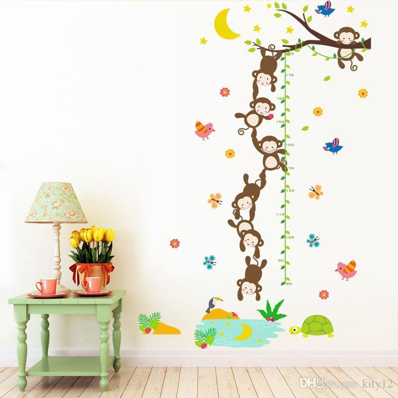 الجملة قرد الحيوانات الارتفاع قياس النمو مخطط الكرتون ملصقات الحائط للأطفال غرفة للإزالة الفينيل جدارية الفن جدار صائق