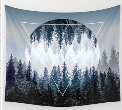 Tapestry Of Forest Ocean Mountain Castle Trees Background Yoga Home Cloth Beach Towel Living Room Wall Decoration