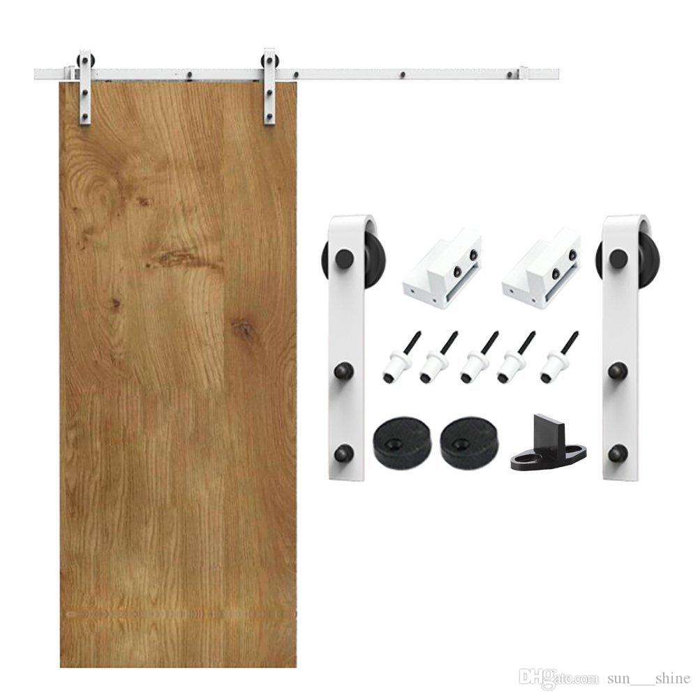 5 16FT White Steel Hardware Interior Barn Door Soft Close Soft Closing  Hardware Kit For Outside Or Inside Door Barn Door Hardware Slide Barn Door  Hardware ...