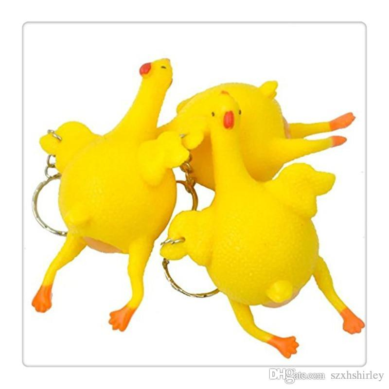 Stress Toys Relief Vent Tricky Toys Squeeze Chicken Laying Egg Key Chain Interior Accessories Automobiles & Motorcycles