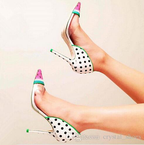 2017 New Sexy Women High Heels Sandals Watermelon Patent-Leather And Pvc Pumps For Women Party Wedding Transparent Shoes Woman Zapatos