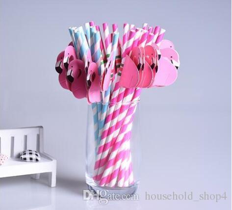 Flamingo Straws Disposable Paper Suckers Cartoon Bird Straw Stripe Paper Sucker for Drinking Juice Party Wedding Decor