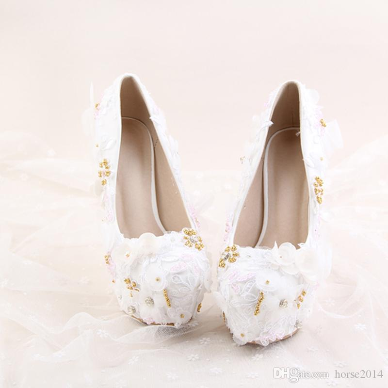 2017 Newest Arrived Elegant White Lace Shoes Gold Pearls Flower Decoration 1.57 Inches Platforms Bridal Wedding Girl Stiletto Party Prom
