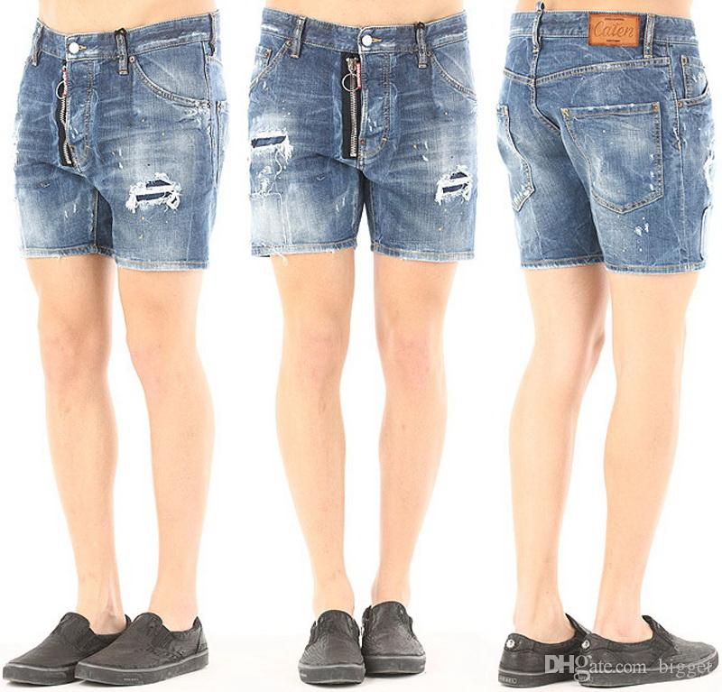 2017 Cool Guy Distressed Denim Shorts Stonewashed Paint Splatter ...