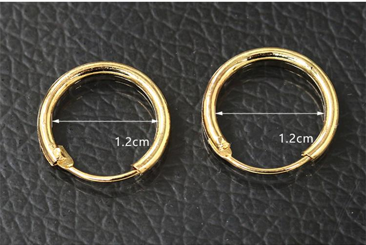 Simple Design Silver Hoop Earring Fashion Unisex Gold Plated Round Circle Earring for Women Man Gift Fashion Jewelry 12mm