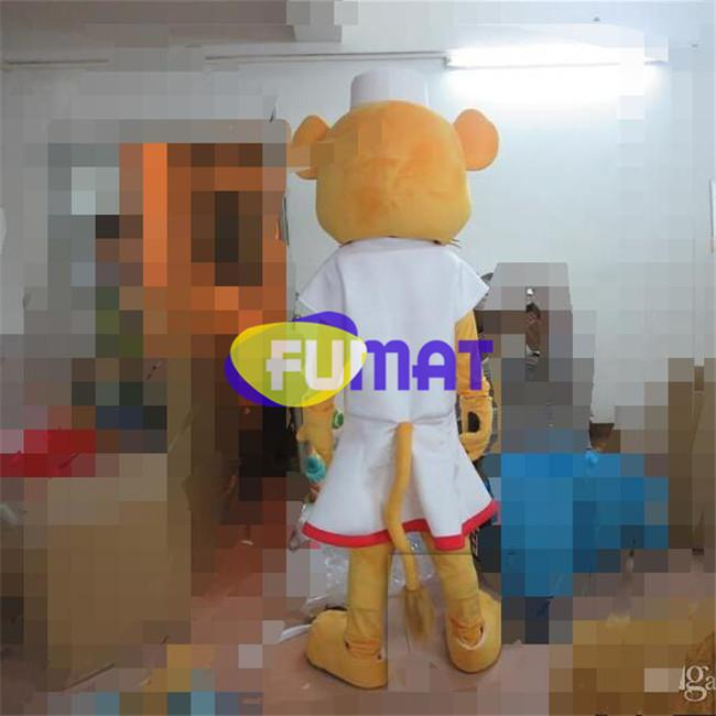 FUMAT Professional Animal Lion Doctor Mascot Costume Doctor Lion Cartoon Adult Size Fancy Dress For Party Halloween Christmas Customization
