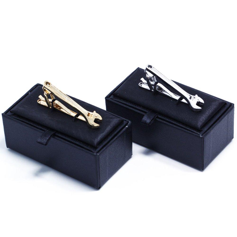 Men's Fashion Silver Gold Wrench Tie Clip Handyman Spanner Mechanic Tool Electrician Construction Bar Clasp Clip Wedding Favors