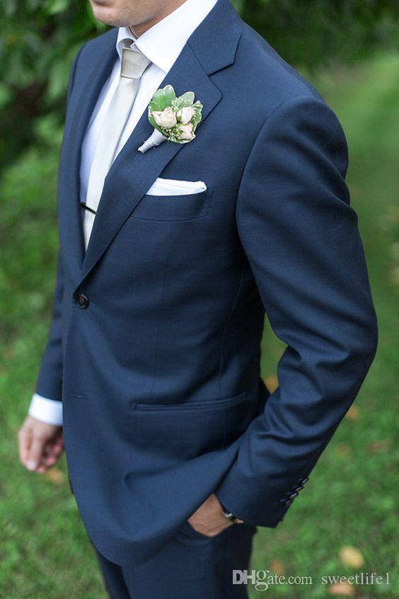 Navy Blue Groom Tuxedos Mens Suits For Wedding Trim Fit Groom ...