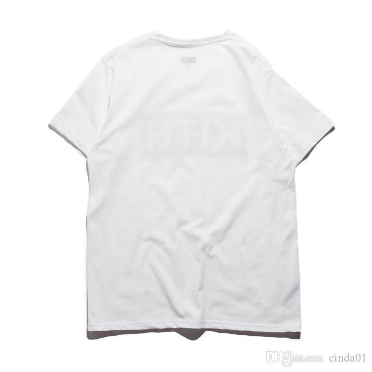 Hombres Ropa Verano Hombres Camisetas KITH Fashion Letters Impreso Tee Fresco manga corta cuello redondo Camisetas Hombre Mujeres Blanco Negro Tops