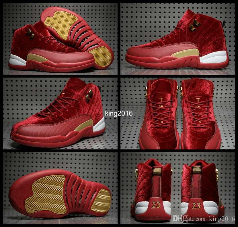 2017 red gold velvet heiress 12 xii mens basketball shoes high cut wool suede sneakers 12s trainers