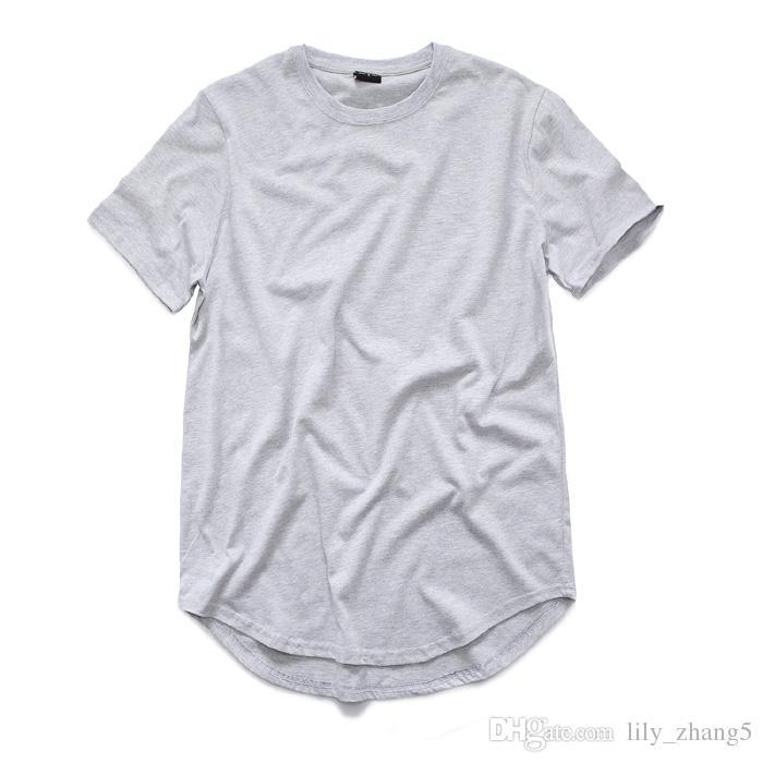 es para hombre grande y alto diseñador de ropa citi trends Ropa Camiseta homme Dobladillo curvo Camiseta liso blanco Camiseta extendida