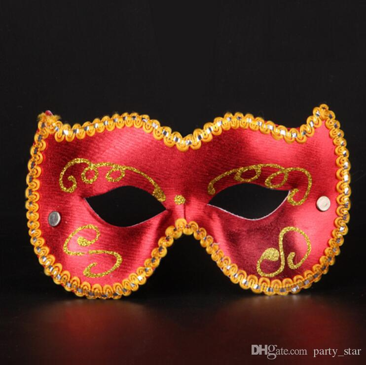 Unisex Half Face Cat Shape Masquerade Mask Halloween Party Painted Venetian Cloth Surrounding Carnival Masks Bar Club Performance PVC Masks