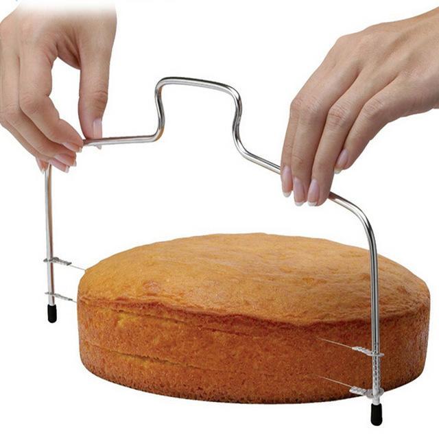 nova linha dupla ferramentas de cozimento ajustável diy molde de aço inoxidável bolo ferramentas bolo pão cortador cortador de cordas faca lb 123