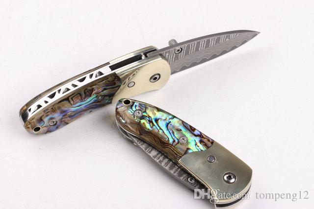 Damascus Small abalone pure copper head outdoor survival camping hunting knife wild gift