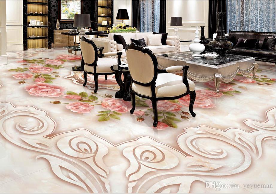 3D пол обои мрамор тиснением Роза нефрит резьба обои для гостиной настроить 3D стереоскопический 3D пол фрески обои