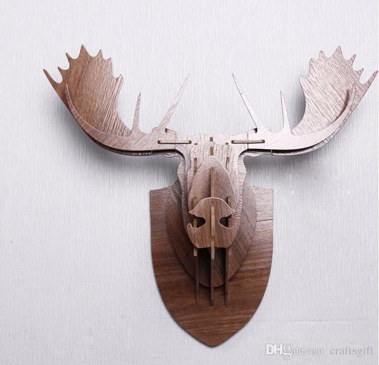 Moose Wall Decor european carved wood animal head 3d wall stickers home wall decor