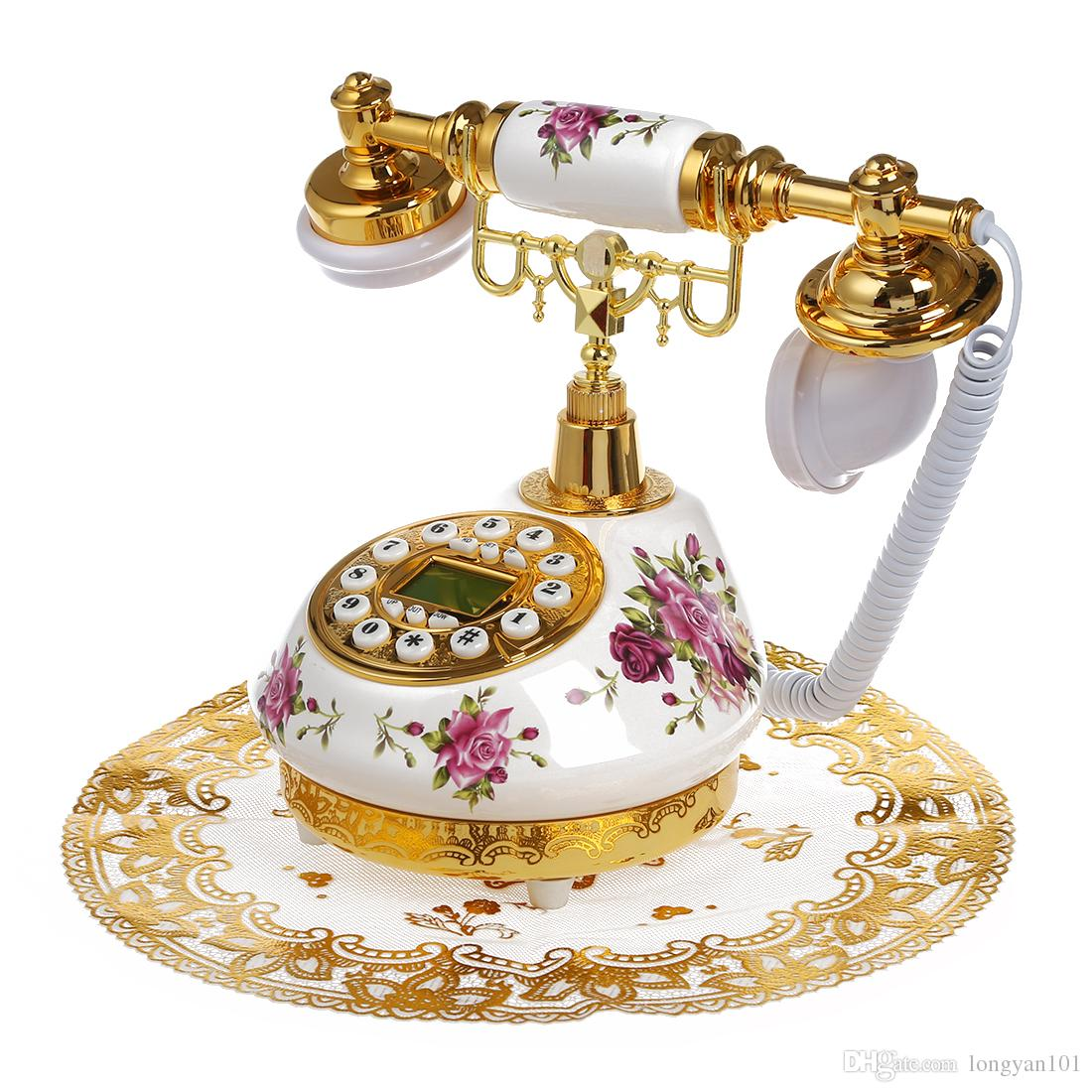 Retro Vintage Antique Style Fl Ceramic Home Decor Desk Telephone Phone Red Digital From Longyan101 60 3 Dhgate Com