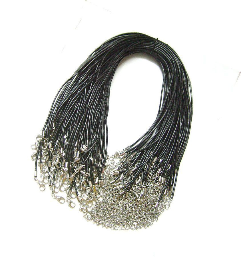 100 قطعة / الوحدة الأسود 2 ملليمتر حقيقي الجلود قلادة سلك الحبل ل diy الحرفية الأزياء والمجوهرات هدية W2