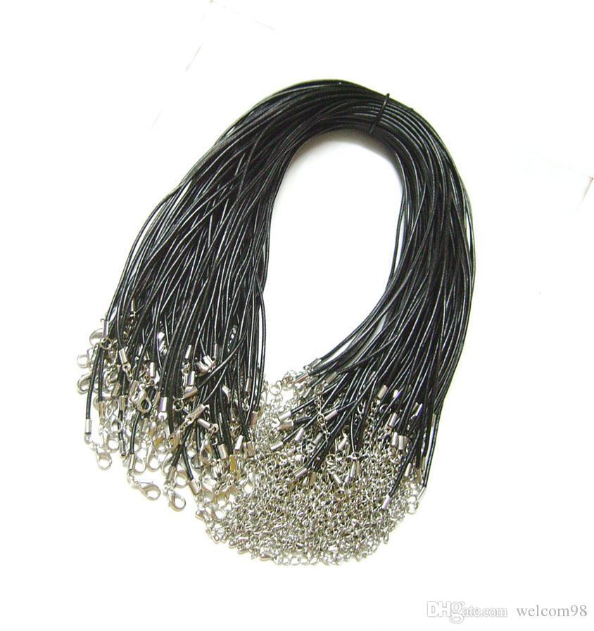 100 sztuk / partia Czarny 2mm Prawdziwe Skórzane Naszyjnik Przewód Drut Dla DIY Craft Moda Biżuteria Prezent W2