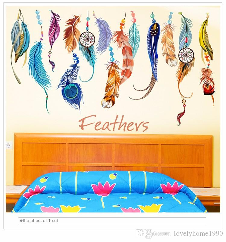 Adesivo da parete piuma rimovibile Colorful Plumage coreano Dreamcatcher Decalcomanie da muro soggiorno Camera dei bambini Decorazione
