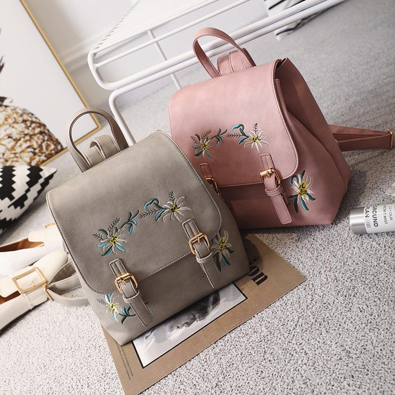 eefae6cfe761 Girls Embroidery Backpack PU Leather Fashion Flowers Color Embroidery Shoulder  Bag Wholesale