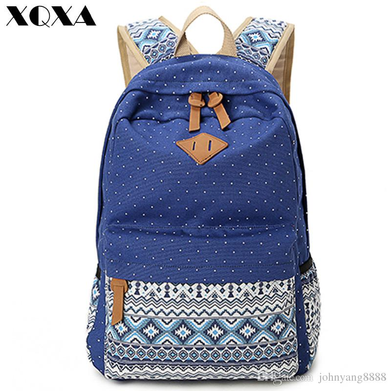 383fb97885 XQXA Vintage Girl School Bags For Teenagers Cute Dot Printing Canvas Women  Backpack Mochila Feminina Casual Bag School Backpack Backpacks For Girls ...