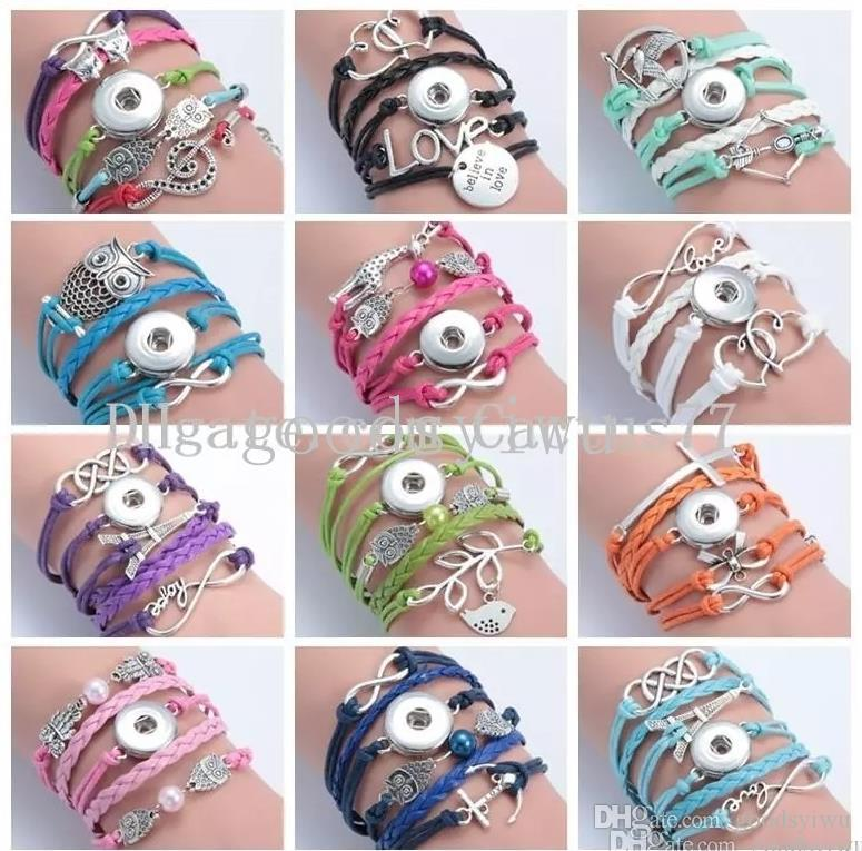12 styles PU leather Snap Button Bracelet Multilayer Infinity Heart Crown Letters Bracelets 18MM Noosa Ginger Snaps jewelry for women
