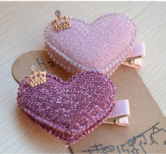 Wholesale- 2pcs/set Baby Girls Hair Accessories Sequin Heart Bear Shiny Fabrics And Crown Hair Clip Kids Children Hairpin kk1104