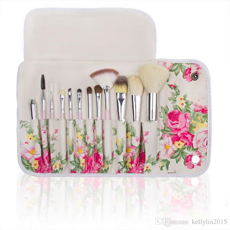 White Rose Flower Makeup brushes Sets Goat Hair Foundation Powder Contour Multipurpose Make up brushes with bag cases or cup holder
