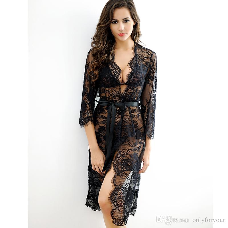목욕 가운 란제리 섹시한 뜨거운 에로틱 한 나이트 세트 잠옷 여성 이국적인 의상 섹시한 속옷 여자 끈 팬티와 G 끈 화이트 블랙 핑크