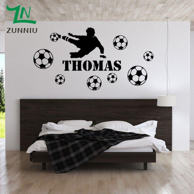Acquista Calcio Personalizza Nome Personalizzato Wall Stickers Bambini  Camere Soccer Player Ragazzi Camera Da Letto Decorazione Stickers Murali  Home ...