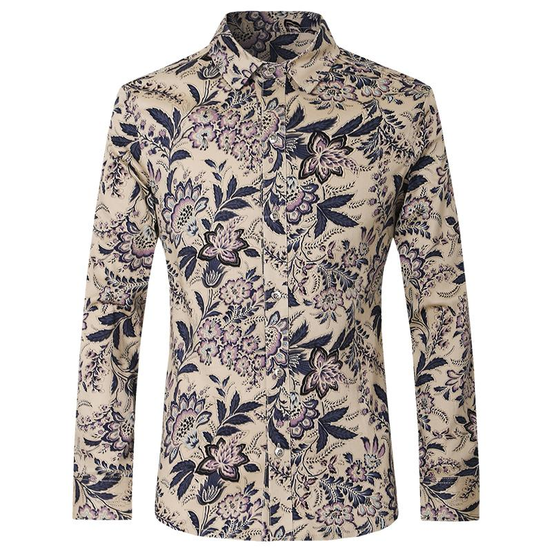 2018 Wholesale Slim Fit Floral Print Shirt Men Casual Long Sleeve ...