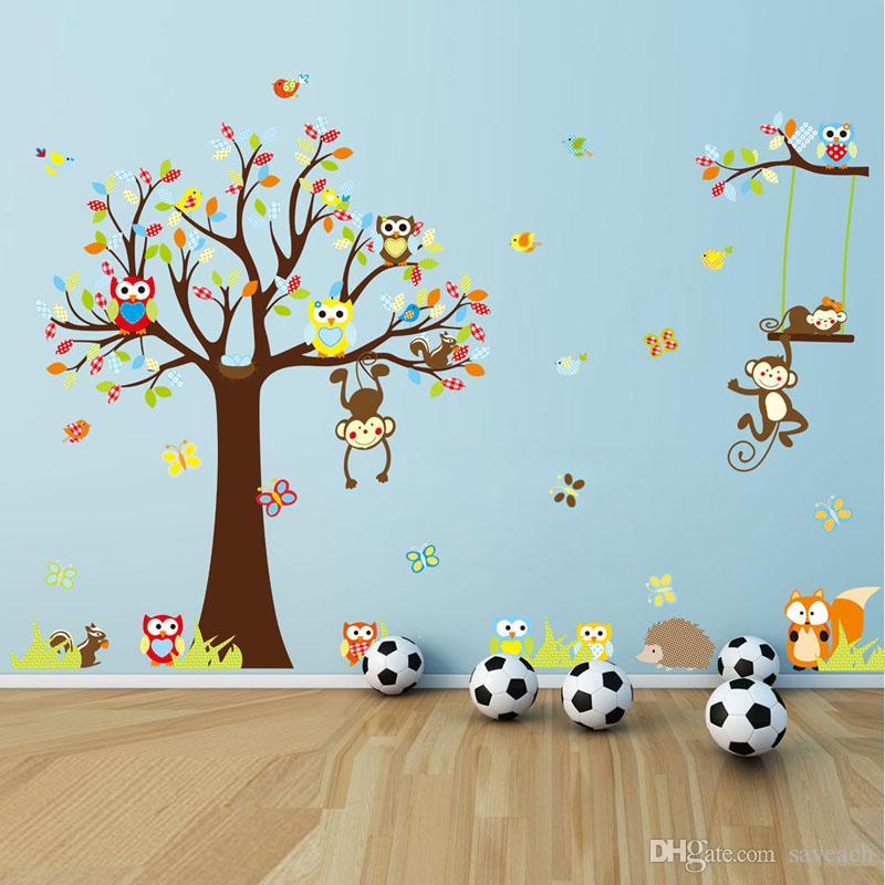 Affe Wandaufkleber Kinderzimmer Kinderzimmer Dekoration DIY Wandtattoo  Babyzimmer Baum Tapete Kinderzimmer Kinderzimmer Dekoration