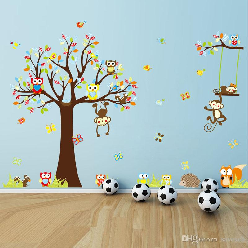 Monkey Wall Sticker Nursery Kids Room Decoration DIY Wall Decal Baby Room  Tree Wallpaper Nursery Kids Room Decoration Cute Animal Owls Wall Sti Child  Room ...