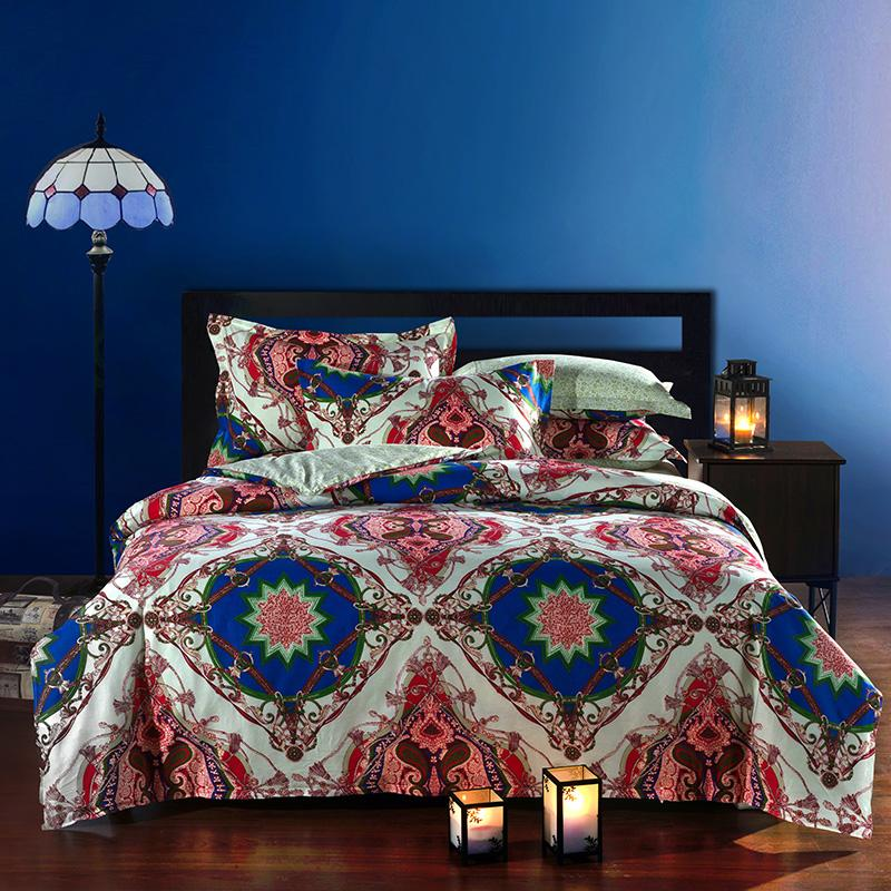 Wholesale Moroccan Ethnic Style Cotton Bedding Set Queen Size Bedclothes Comforter Duvet Quilt Cover Bedsheet Pillowcase 4pcs Bed Sets
