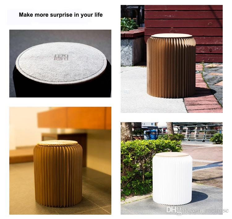 """H42xDia34cm Novel Innovation Furniture Smart Pop-Paper Stools Indoor Waterproof And Dampproof Accordion Style Kraft Paper Height 16.5"""""""